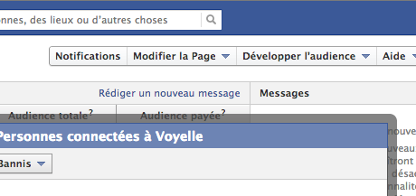 console d'administration d'une page facebook