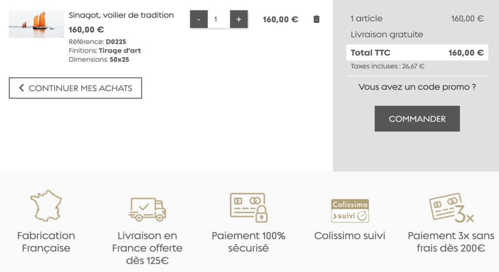 Panier d'achat du site Pecheur d'images